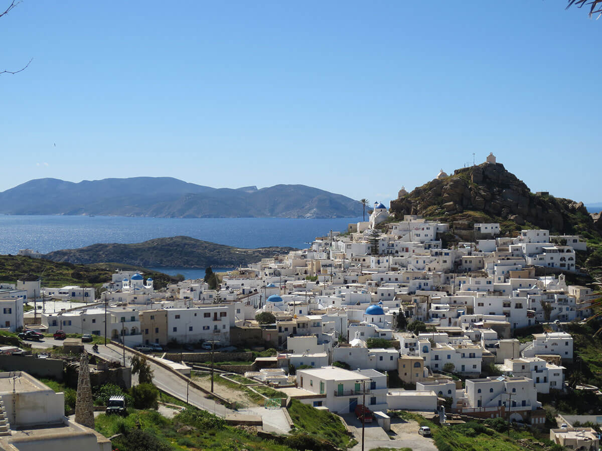 A white-hued village on the Greek island of Ios.